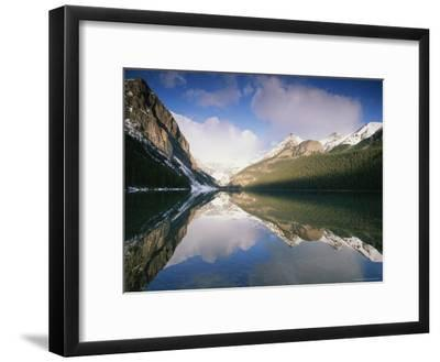 View at Sunrise of Mountains Reflected on the Surface of Lake Louise-Rich Reid-Framed Photographic Print