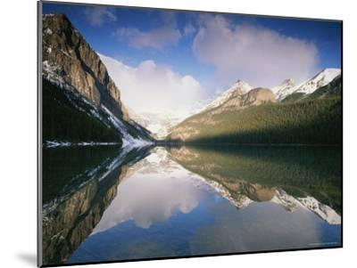 View at Sunrise of Mountains Reflected on the Surface of Lake Louise-Rich Reid-Mounted Photographic Print