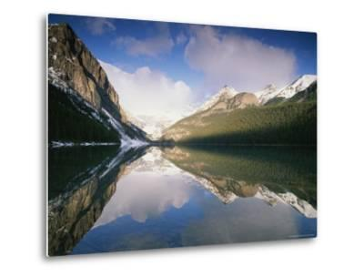 View at Sunrise of Mountains Reflected on the Surface of Lake Louise-Rich Reid-Metal Print
