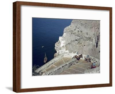 Donkeys Carry Visitors From the Ocean To the Hilltop Town of Thera-Maynard Owen Williams-Framed Photographic Print
