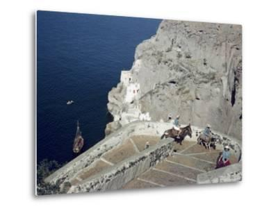 Donkeys Carry Visitors From the Ocean To the Hilltop Town of Thera-Maynard Owen Williams-Metal Print