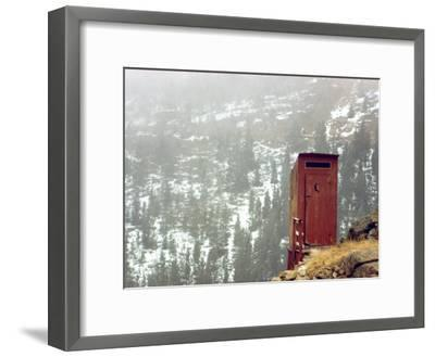 Outhouse Perches on a Hillside-Rex Stucky-Framed Photographic Print