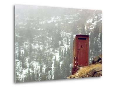 Outhouse Perches on a Hillside-Rex Stucky-Metal Print