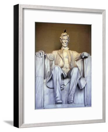Bird Perches on Abraham Lincoln's Statue Inside the Lincoln Memorial-Rex Stucky-Framed Photographic Print