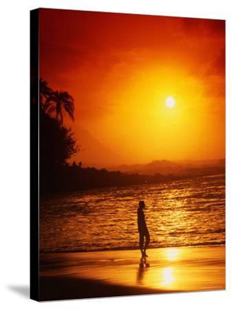 Ke'e Beach at Sunset-Linda Ching-Stretched Canvas Print