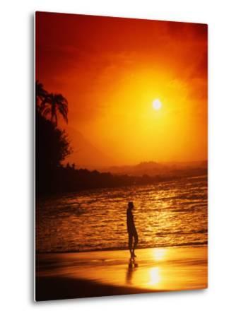 Ke'e Beach at Sunset-Linda Ching-Metal Print