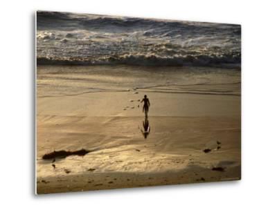 Overhead of Surfer on Redondo Beach-Christina Lease-Metal Print