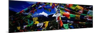 Buddhist Prayer Flags Framing Mt Miacimu, Meili Xueshan Mountain Range-Richard I'Anson-Mounted Photographic Print
