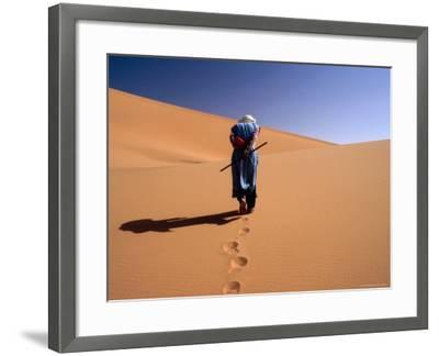 Local Man Walking in the Sahara-Olivier Cirendini-Framed Photographic Print