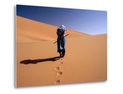 Local Man Walking in the Sahara-Olivier Cirendini-Metal Print