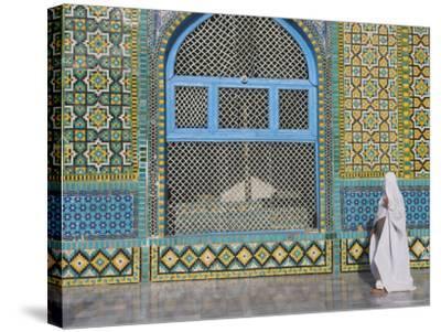 Pilgrim in a Burqa Passing the Shrine of Hazrat Ali-Jane Sweeney-Stretched Canvas Print