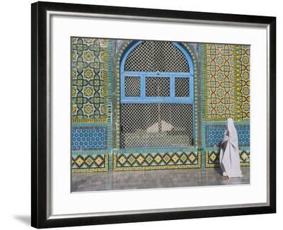 Pilgrim in a Burqa Passing the Shrine of Hazrat Ali-Jane Sweeney-Framed Photographic Print