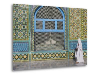 Pilgrim in a Burqa Passing the Shrine of Hazrat Ali-Jane Sweeney-Metal Print