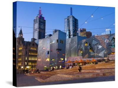 Federation Square at Dusk-Greg Elms-Stretched Canvas Print