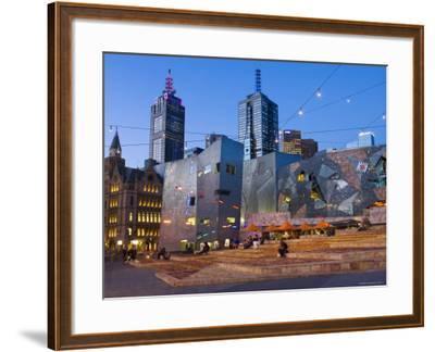 Federation Square at Dusk-Greg Elms-Framed Photographic Print
