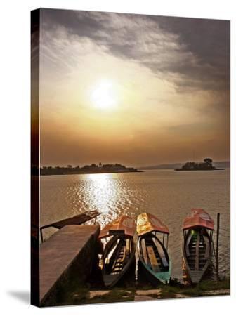 Boats on Lago De Peten Itza-John Sones-Stretched Canvas Print