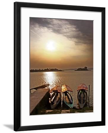 Boats on Lago De Peten Itza-John Sones-Framed Photographic Print