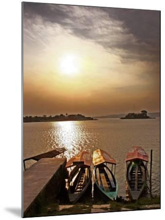 Boats on Lago De Peten Itza-John Sones-Mounted Photographic Print