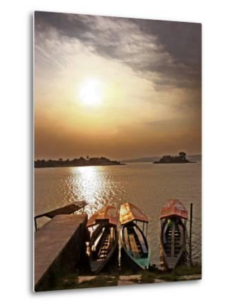 Boats on Lago De Peten Itza-John Sones-Metal Print