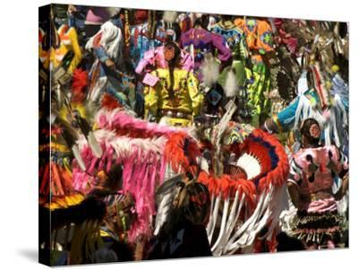 Native Dancers in Traditional Dress, Kamloops Pow Wow Grand Entry-Emily Riddell-Stretched Canvas Print