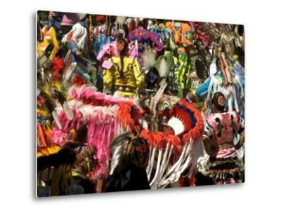 Native Dancers in Traditional Dress, Kamloops Pow Wow Grand Entry-Emily Riddell-Metal Print