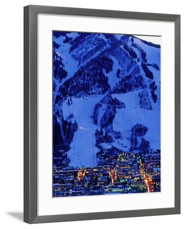 Town Illuminated at Dusk with Aspen Mountain Towering Above-Diego Lezama-Framed Photographic Print