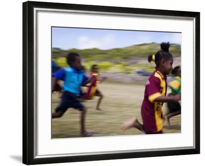 Local School Girls Competing in Race During an Inter-Island School Sports Carnival-Tim Barker-Framed Photographic Print