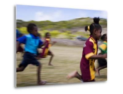 Local School Girls Competing in Race During an Inter-Island School Sports Carnival-Tim Barker-Metal Print