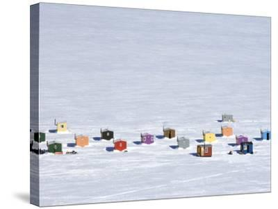 Overhead of Ice Fishing Huts-Guylain Doyle-Stretched Canvas Print