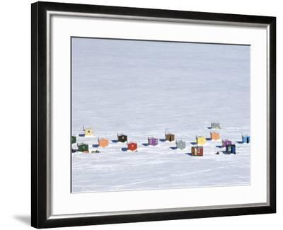 Overhead of Ice Fishing Huts-Guylain Doyle-Framed Photographic Print