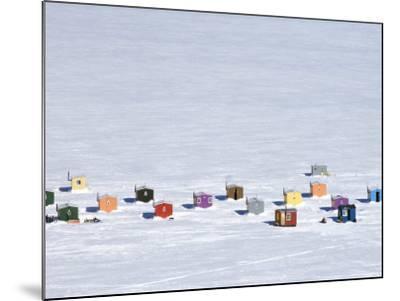 Overhead of Ice Fishing Huts-Guylain Doyle-Mounted Photographic Print