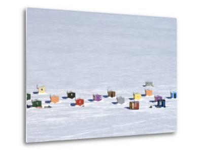 Overhead of Ice Fishing Huts-Guylain Doyle-Metal Print