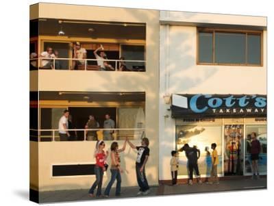 People Outside Cott's Takeaway, Cottesloe Beach-Orien Harvey-Stretched Canvas Print