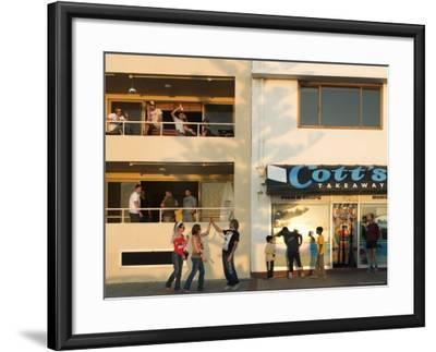 People Outside Cott's Takeaway, Cottesloe Beach-Orien Harvey-Framed Photographic Print