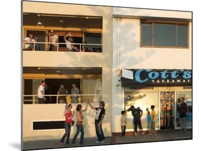 People Outside Cott's Takeaway, Cottesloe Beach-Orien Harvey-Mounted Photographic Print