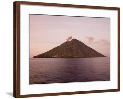 Smoke Coming Out of Stromboli Volcanic Island-Holger Leue-Framed Photographic Print