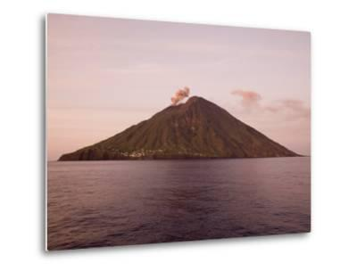 Smoke Coming Out of Stromboli Volcanic Island-Holger Leue-Metal Print