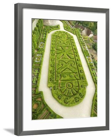 Overhead of English Style Garden from Tower of Brittany, Chateau De Hautefort-Mark Avellino-Framed Photographic Print