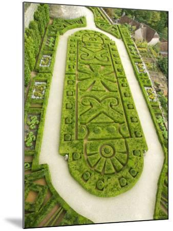Overhead of English Style Garden from Tower of Brittany, Chateau De Hautefort-Mark Avellino-Mounted Photographic Print