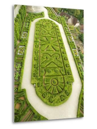 Overhead of English Style Garden from Tower of Brittany, Chateau De Hautefort-Mark Avellino-Metal Print