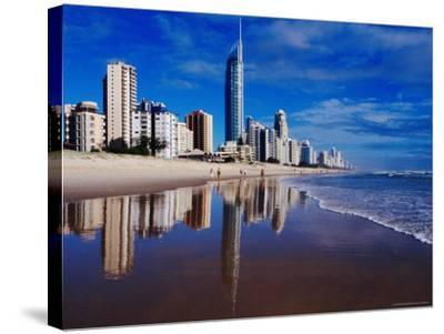 Hi-Rise Apartment Buildings and Surfers Paradise Beach-Richard I'Anson-Stretched Canvas Print