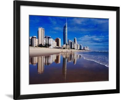 Hi-Rise Apartment Buildings and Surfers Paradise Beach-Richard I'Anson-Framed Photographic Print