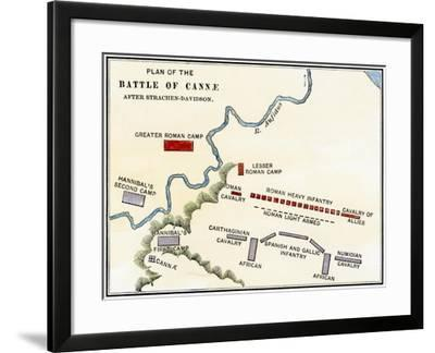 Map of the Battle of Cannae, in Which Hannibal Defeated the Romans During the Second Punic War--Framed Giclee Print