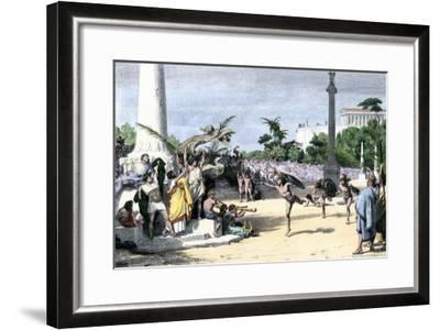 Racers Cheered at the Finish Line in the Olympic Games, Ancient Greece--Framed Giclee Print