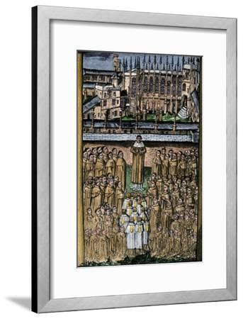 New College, Oxford, and its One Hundred Clerics, c.1453--Framed Giclee Print