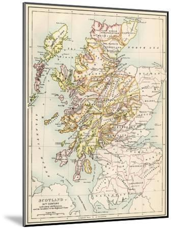 Map of Scotland in the 1520s, Showing Territories of the Highland Clans--Mounted Giclee Print