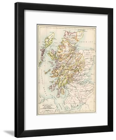Map of Scotland in the 1520s, Showing Territories of the Highland Clans--Framed Giclee Print