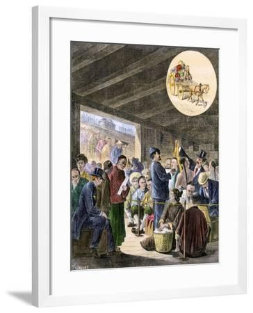 Chinese Immigrants at the San Francisco Custom-Hoouse, 1870s--Framed Giclee Print