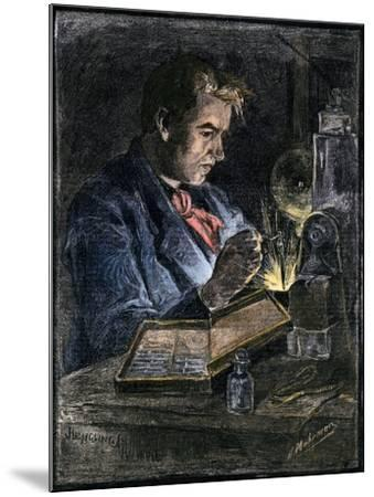 Thomas Edison in His Workshop, 1870s--Mounted Giclee Print