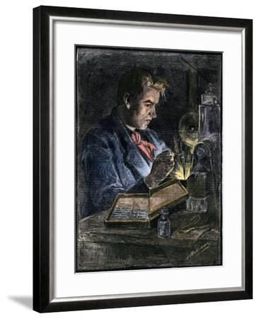 Thomas Edison in His Workshop, 1870s--Framed Giclee Print